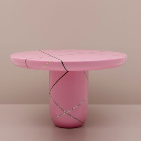 The Invisible Collection Marquetery Mania Center Dining Table by Nada Debs