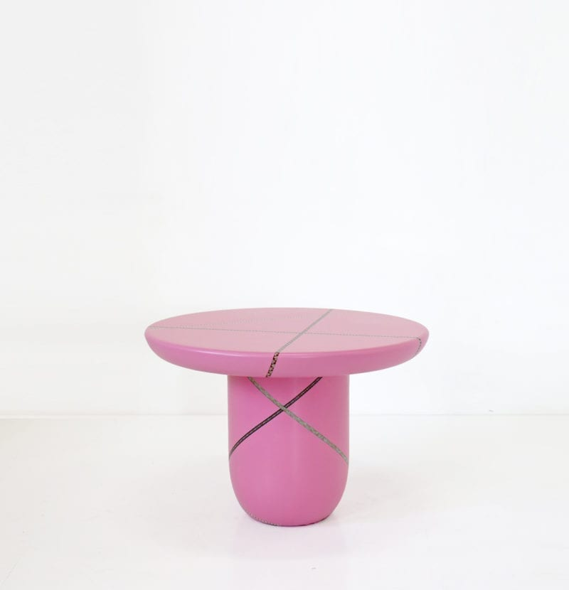 The Invisible Collection Marquetry Mania Low Table Pink by Nada Debs
